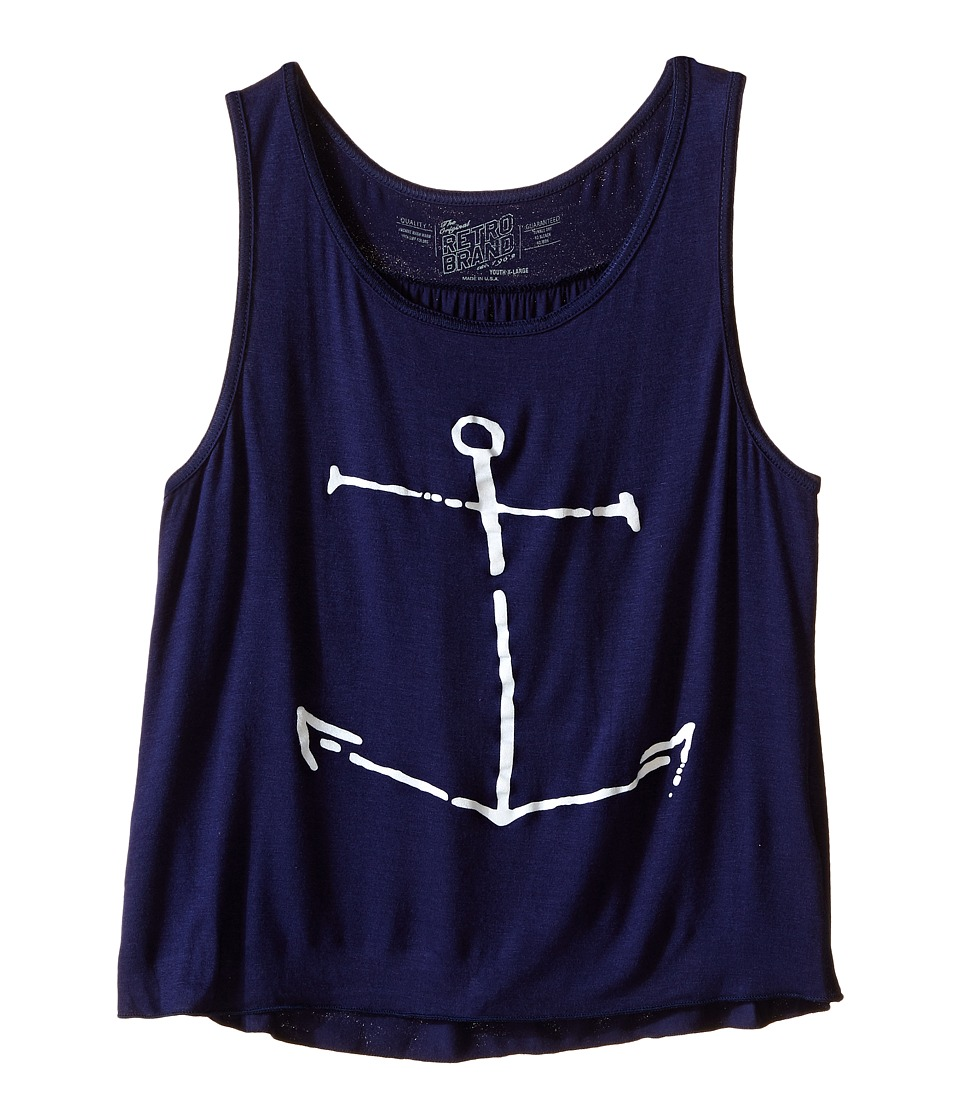 The Original Retro Brand Kids Anchor Rayon Swingy Tank Top Little Kids/Big Kids Rayon Navy Girls Sleeveless