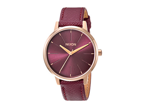 Nixon Kensington Leather X Lux Life Collection - Rose Gold/Bordeaux