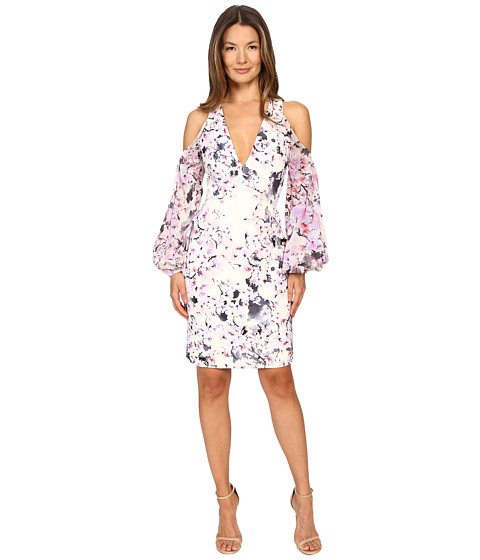 Gabriela Cadena Printed Crepe Cocktail Dress with Ruched Georgette Sleeve