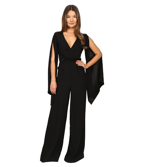 Gabriela Cadena Crepe Jumpsuit with Satin Waist and Cape Sleeve - Black