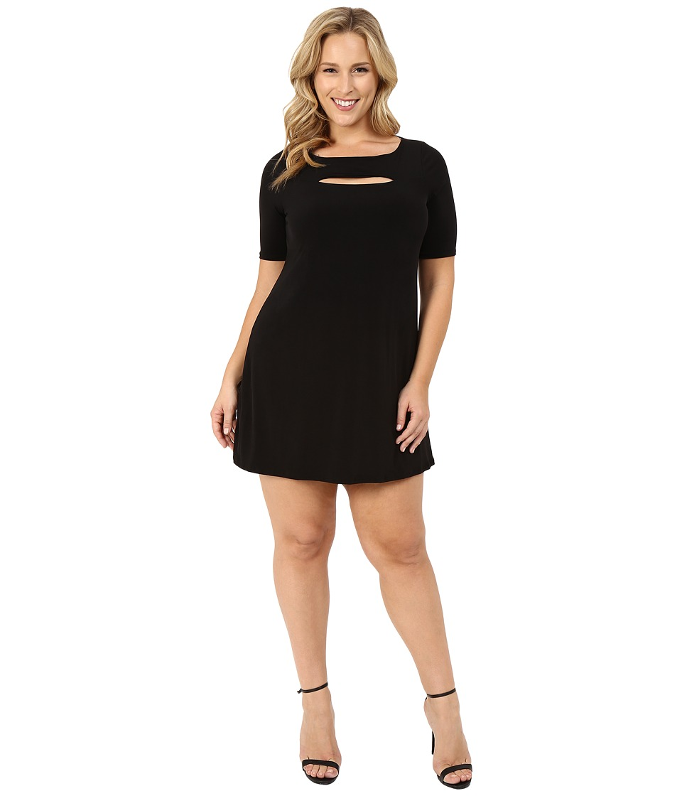 Christin Michaels Plus Size Jan Peekaboo Dress Black Womens Dress