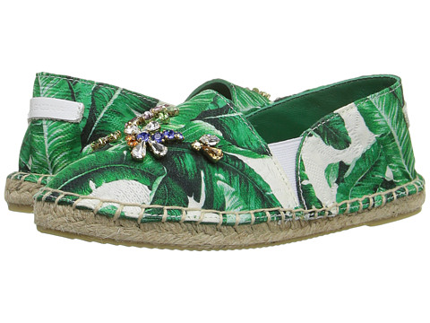 Dolce & Gabbana Kids Botanical Garden Banana Leaf Espadrille (Toddler/Little Kid/Big Kid) - White