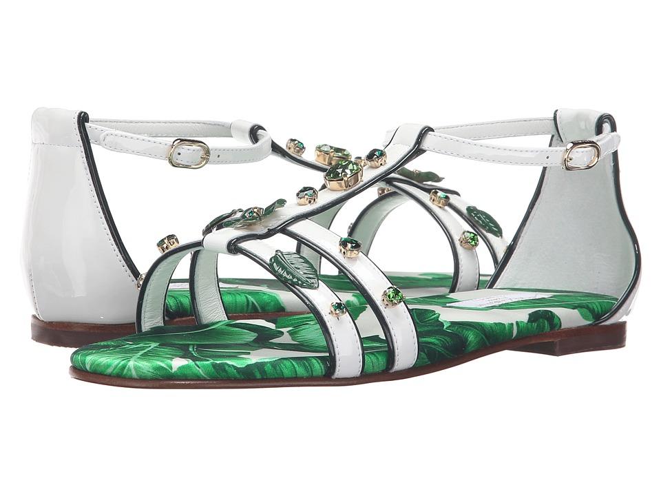 Dolce & Gabbana Kids Botanical Garden Jeweled Sandal (Little Kid/Big Kid) (White) Girls Shoes