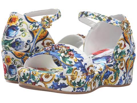 Dolce & Gabbana Kids Escape Maiolica Floral Wedge (Little Kid/Big Kid)