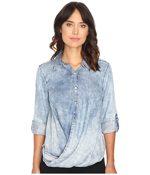Blank NYC Denim Drape Front Shirt in Glamper