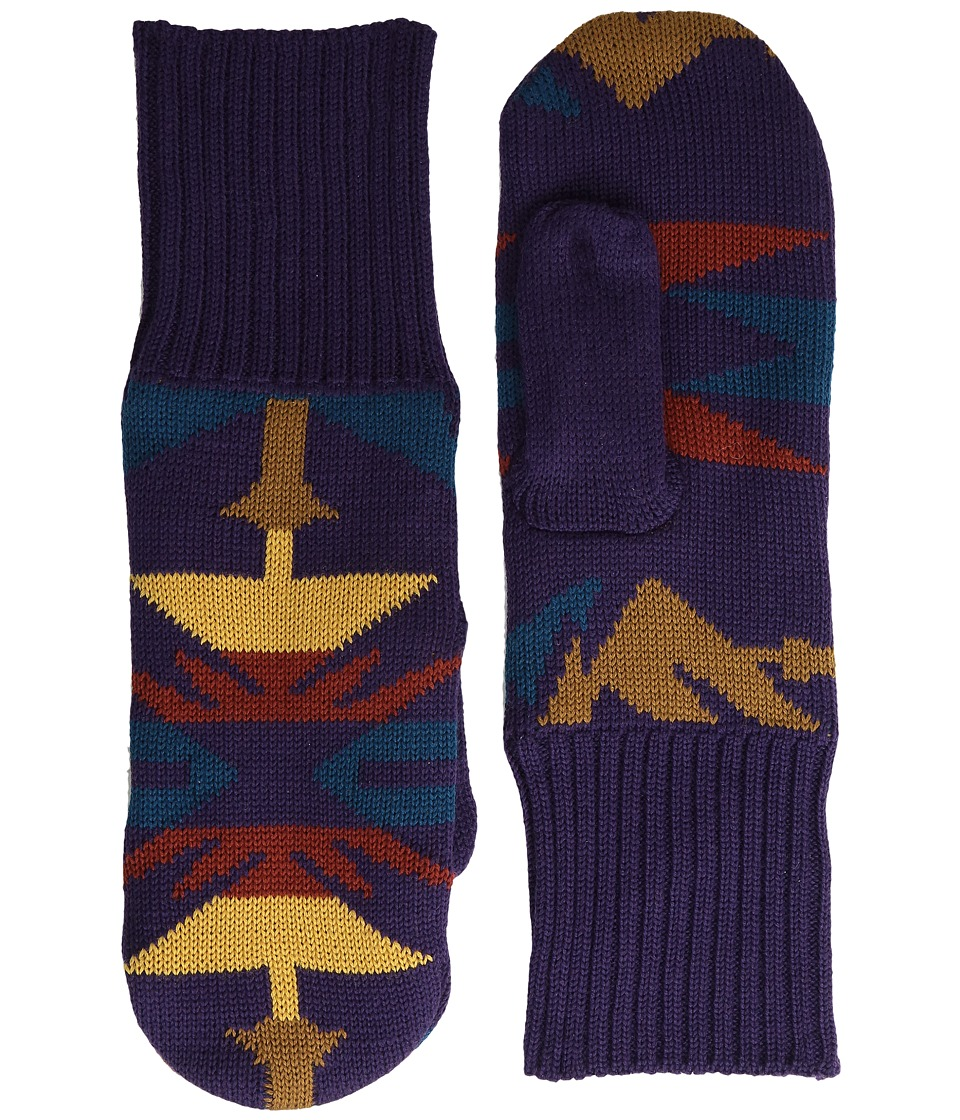 Pendleton Fleece Lined Mittens (Echo Peaks Purple) Wool Gloves