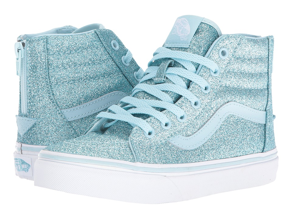 Vans Kids Sk8-Hi Zip (Little Kid/Big Kid) ((Shimmer) Blue) Girls Shoes