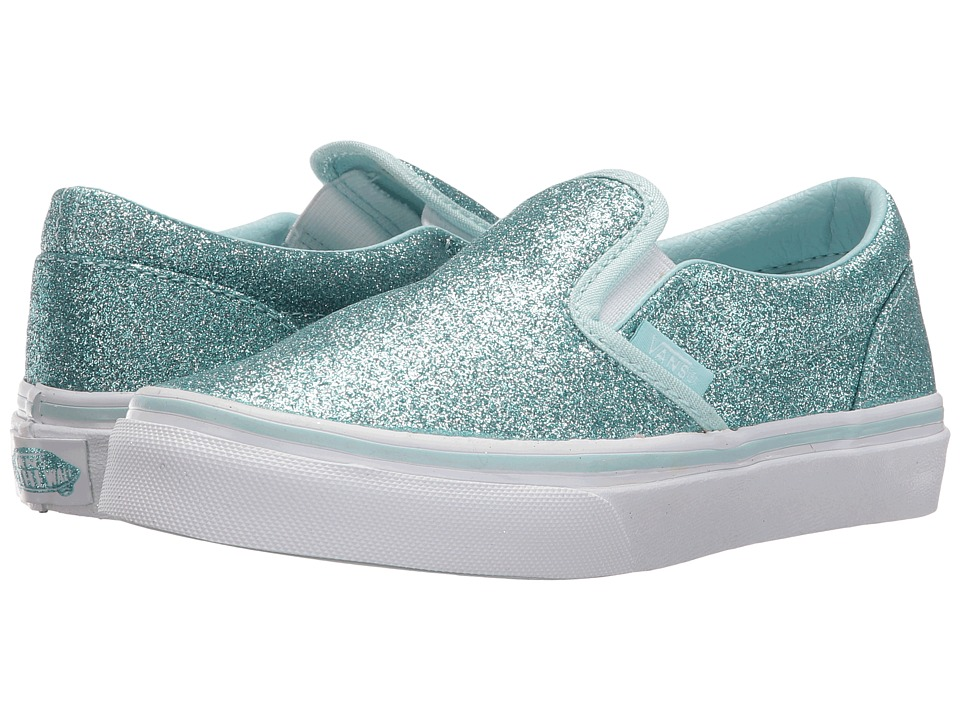 Vans Kids - Classic Slip-On (Little Kid/Big Kid) ((Shimmer) Blue) Girls Shoes