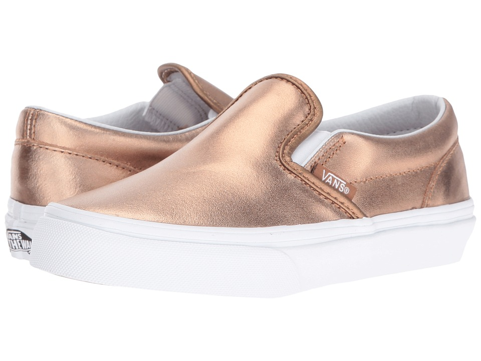 Vans Kids - Classic Slip-On (Little Kid/Big Kid) ((Metallic) Rose Gold/True White) Girls Shoes