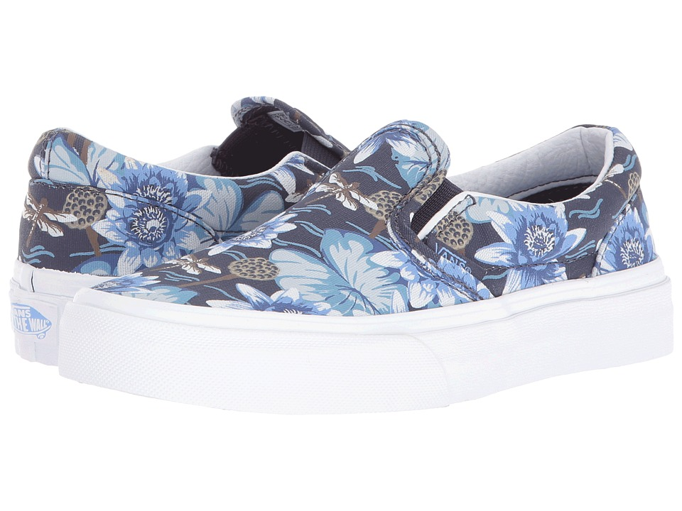 Vans Kids - Classic Slip-On (Little Kid/Big Kid) ((Dragon Floral) Parisian Night/True White) Girls Shoes