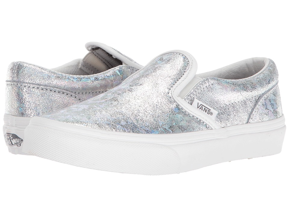 Vans Kids - Classic Slip-On (Little Kid/Big Kid) ((Hologram) Silver/Blanc De Blanc) Girls Shoes