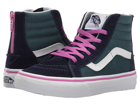 Vans Kids Sk8-Hi Zip (Little Kid/Big Kid) - (Pop) Atlantic Deep/Rosebud