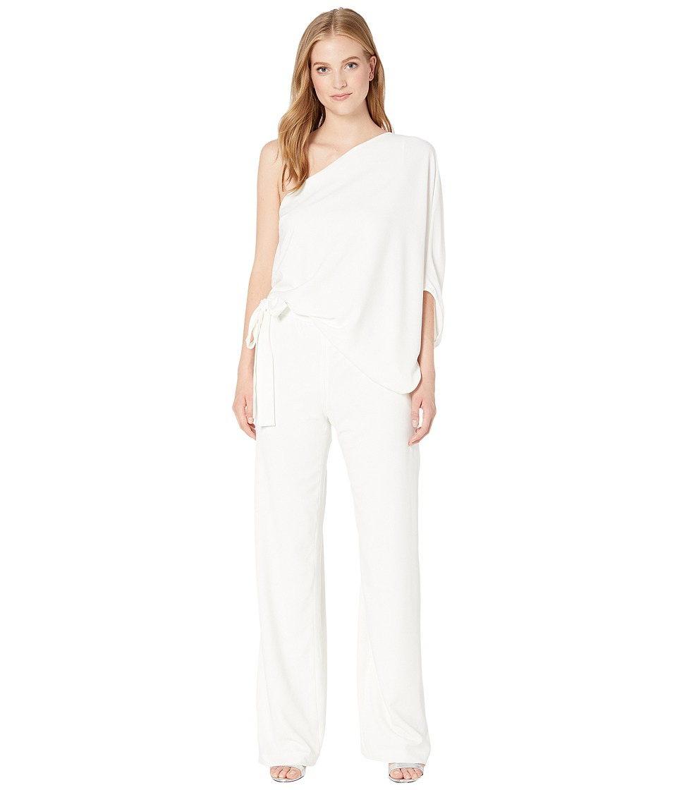Halston Heritage - Asymmetrical Crepe Jumpsuit (Chalk) Womens Jumpsuit & Rompers One Piece