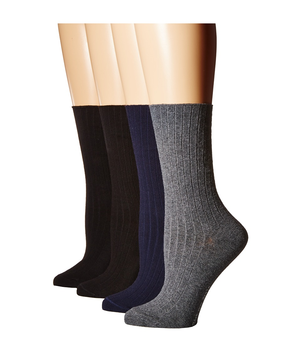 HUE - Rib Dress Socks 4-Pack (Graphite Heather Pack) Womens Crew Cut Socks Shoes