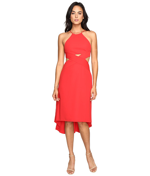 Halston Heritage Halter Dress with Cut Out Detail - Scarlet