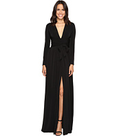Halston Heritage - Long Sleeve Jersey Gown with Tie and Front Slit
