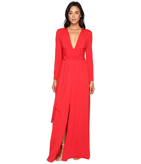 Halston Heritage Long Sleeve Jersey Gown with Tie and Front Slit - Scarlet