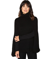 Halston Heritage - Long Slit Sleeve Poncho Sweater with Fringe