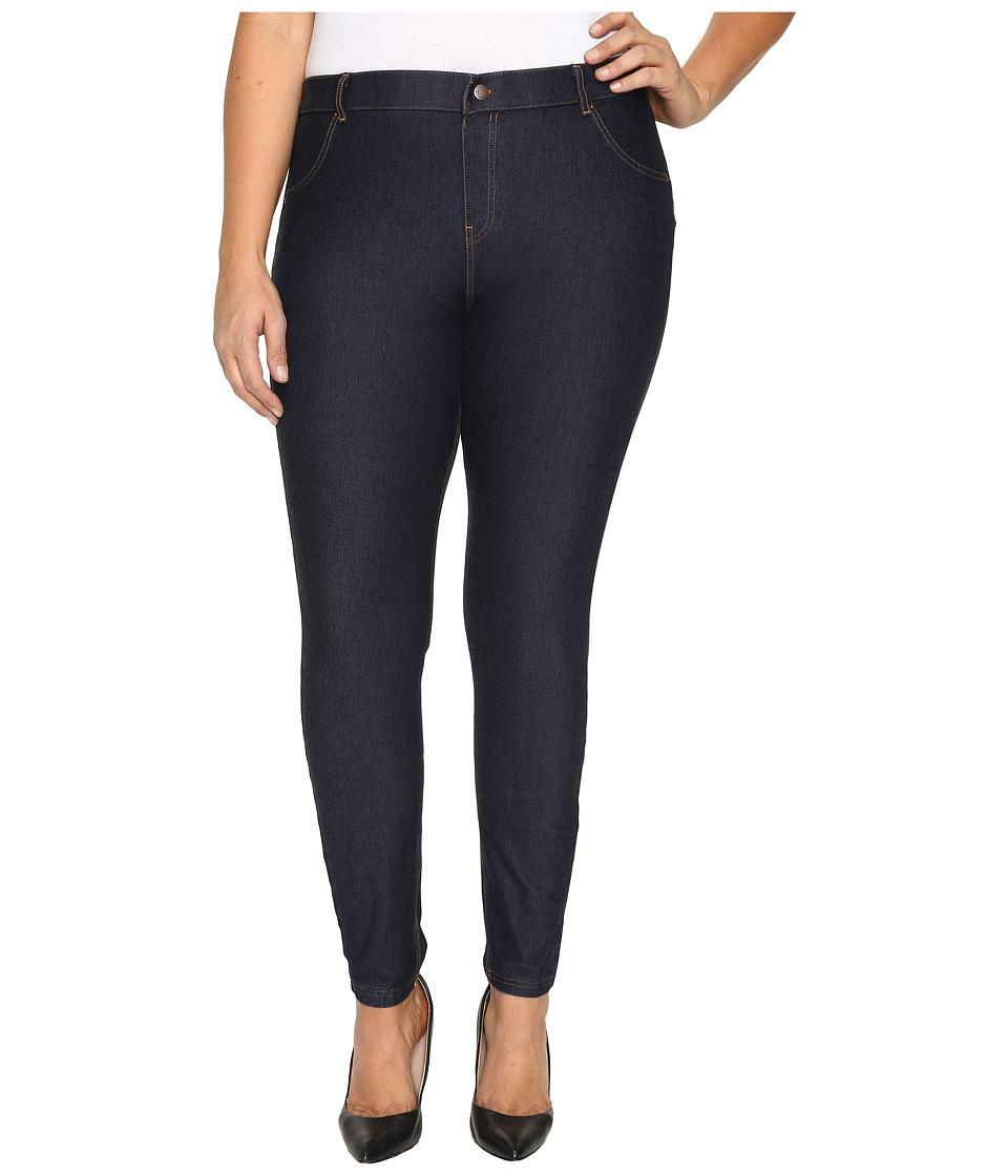 HUE Plus Size Essential Denim Leggings (Deep Indigo Wash) Women