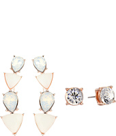 GUESS - Alternating Stone Ear Crawler and Stone Stud Set Earrings
