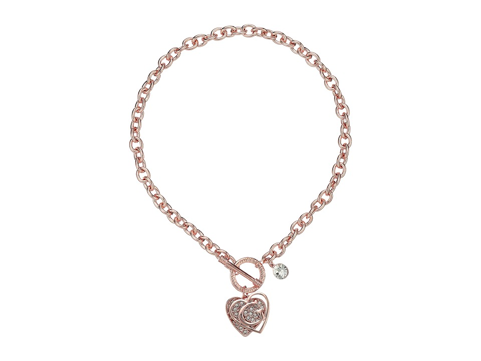GUESS - Logo Overlay On Pave Heart Charm Toggle Front Necklace (Rose Gold/Crystal) Necklace