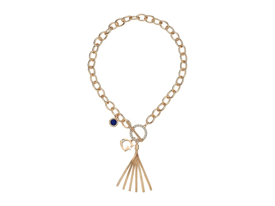 GUESS - Chain Toggle Front Neck with Tassel and Charm Necklace (Gold/Cobalt Blue) Necklace