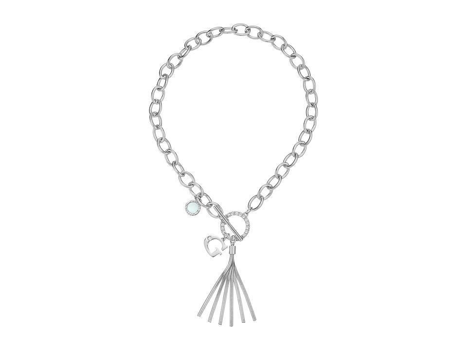 GUESS Chain Toggle Front Neck with Tassel and Charm Necklace Silver/Crystal/Blue Necklace