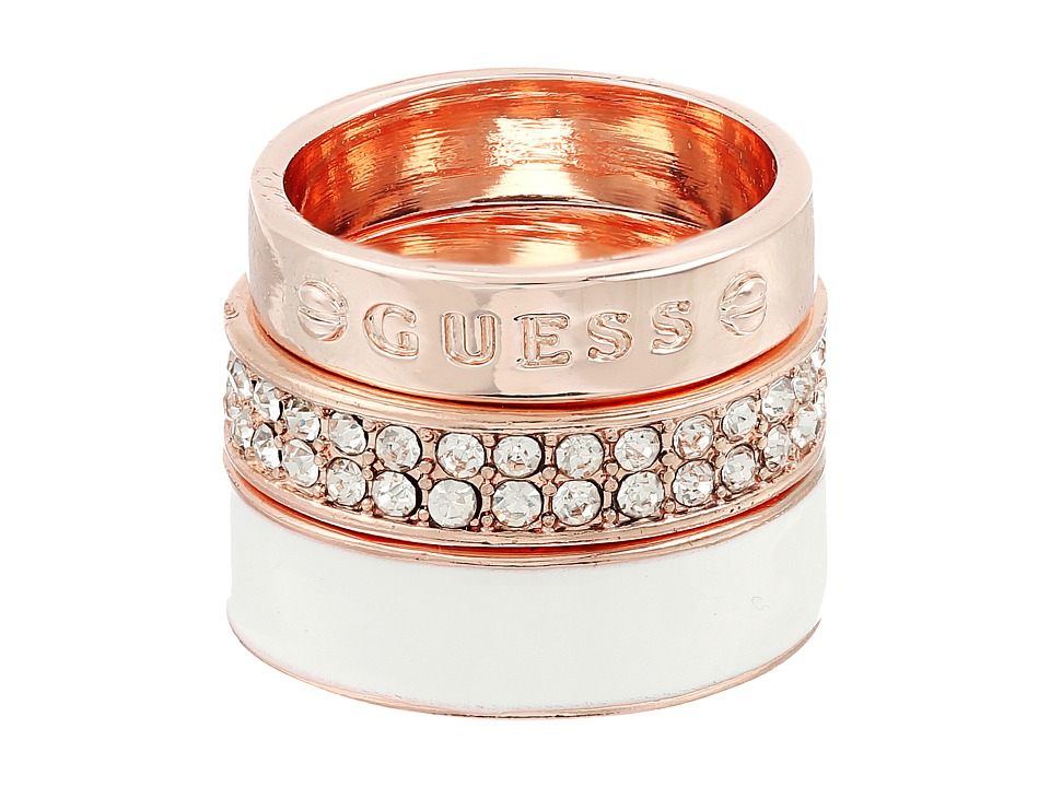 GUESS 3 Band Ring Set Enamel Logo and Pave Bands Rose Gold/Crystal/White Ring