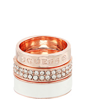 GUESS - 3 Band Ring Set - Enamel, Logo and Pave Bands