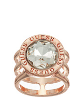 GUESS - Round Crystal Stone with Logo Surround Ring