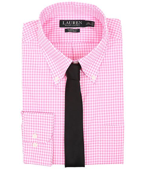 LAUREN Ralph Lauren Classic Button Down with Pocket Dress Shirt - Pink/White