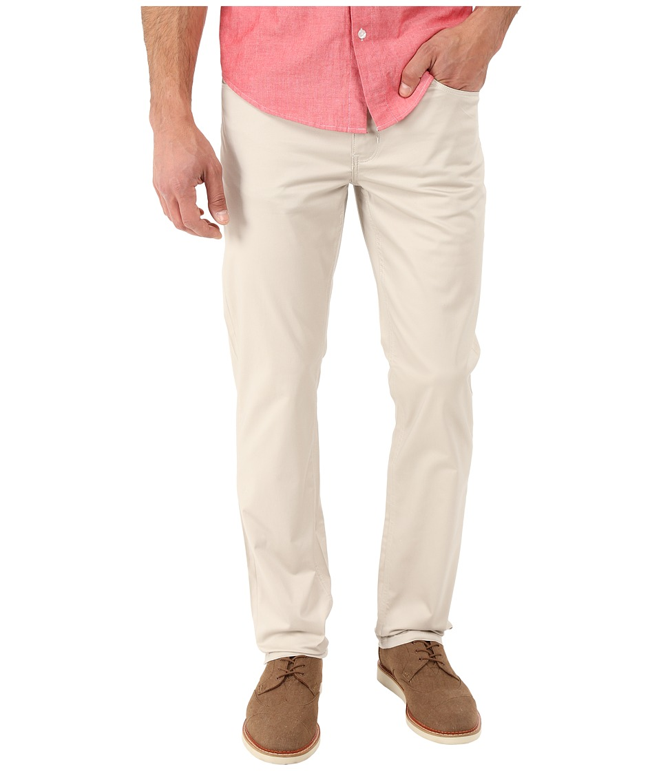 Perry Ellis Slim Fit Solid Sateen Five Pocket Pants Stone Mens Casual Pants