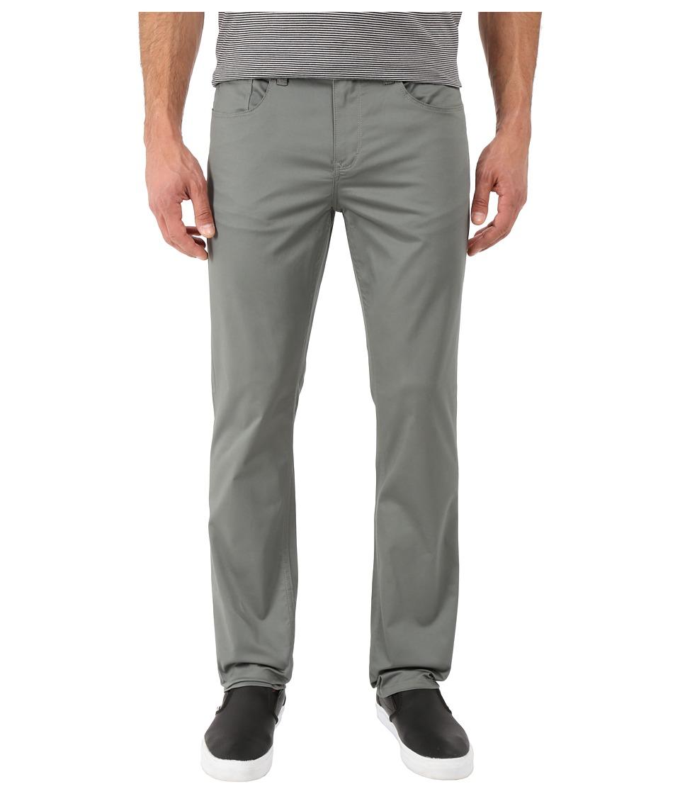 Perry Ellis Slim Fit Solid Sateen Five Pocket Pants Castor Gray Mens Casual Pants