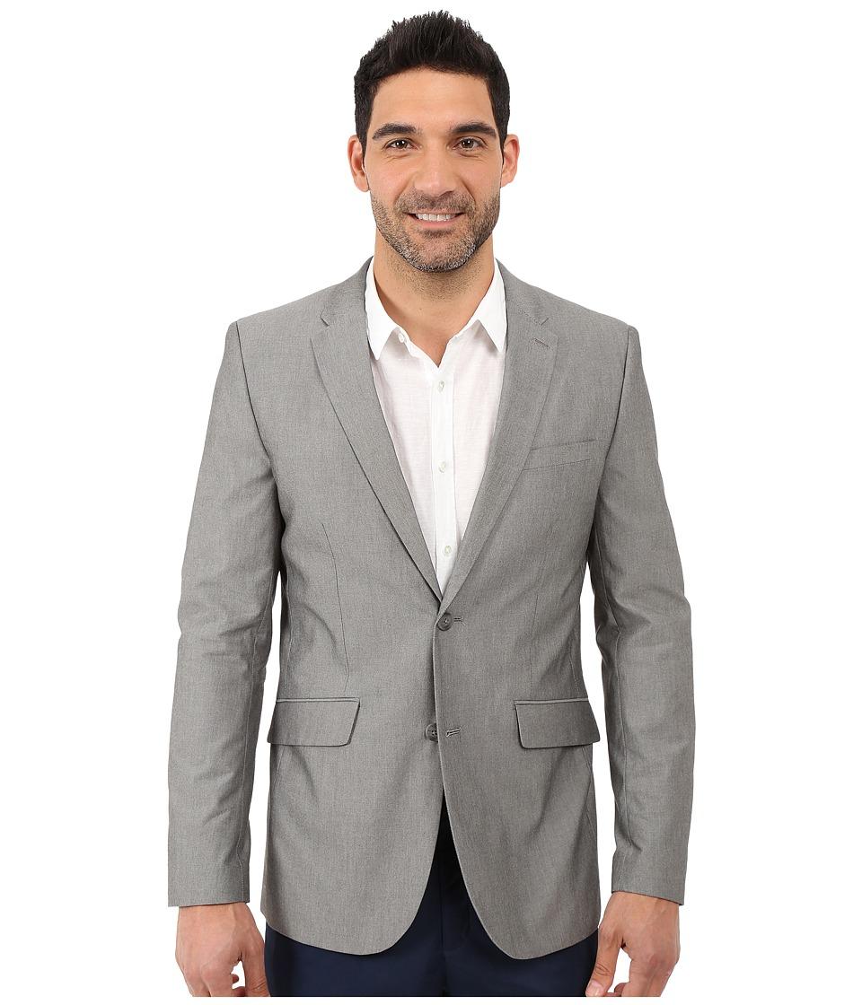 Perry Ellis Slim Fit Chambray Suit Jacket Alloy Mens Coat