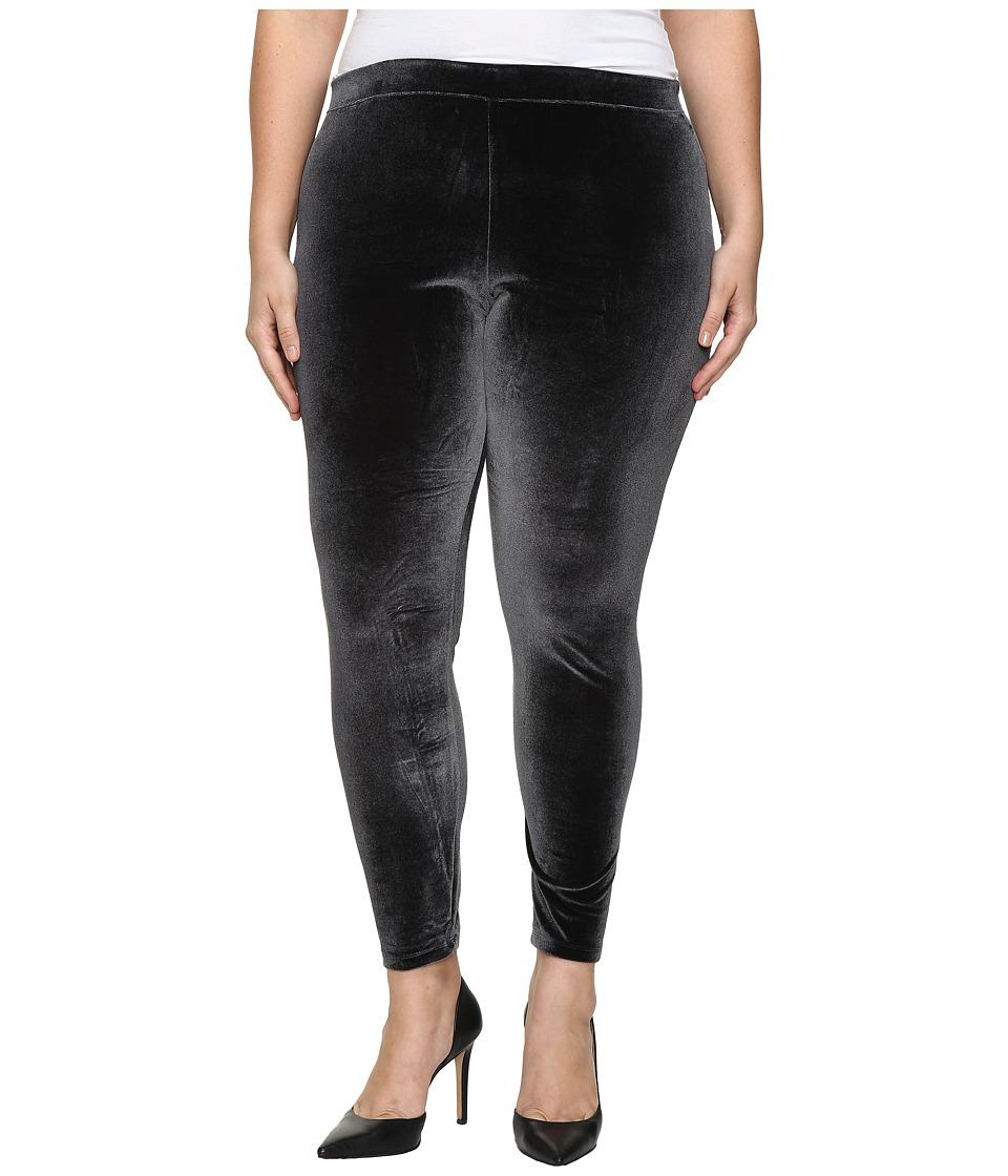 HUE - Plus Size Velvet Leggings (Black) Women's Casual Pants