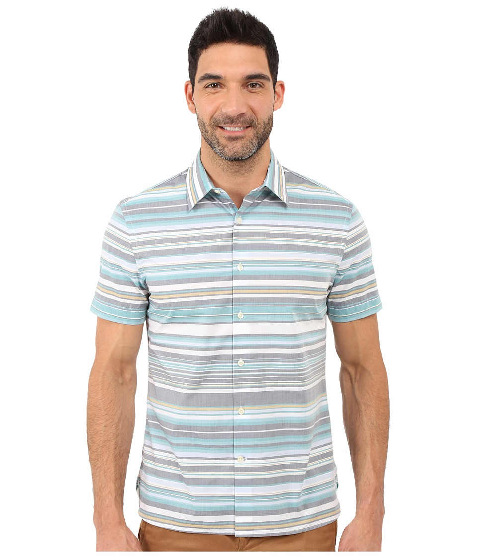 Perry Ellis Regular Fit Multicolor Stripe Pattern Shirt Eclipse Mens Short Sleeve Button Up