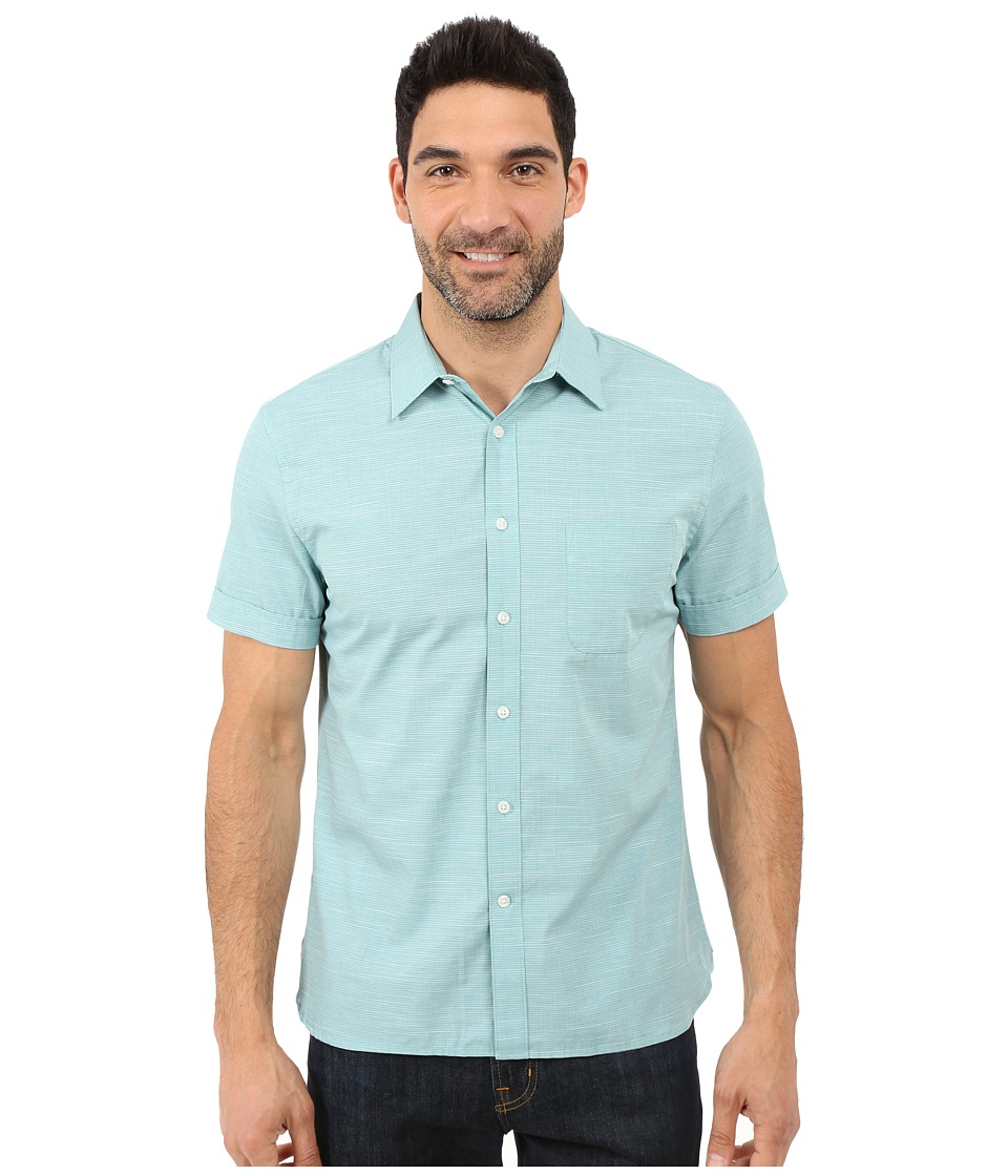 Perry Ellis Stripe Texture Shirt with Chest Pocket Dark Ivy Mens Short Sleeve Button Up