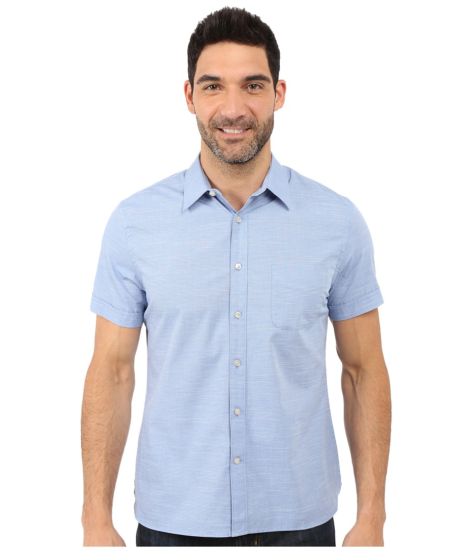 Perry Ellis Stripe Texture Shirt with Chest Pocket Bright Cobalt Mens Short Sleeve Button Up