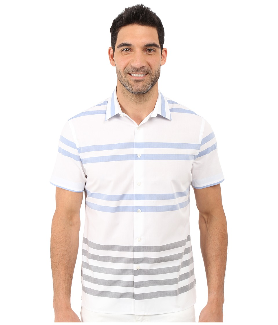 Perry Ellis Regular Fit Stripe Pattern Shirt Bright White Mens Short Sleeve Button Up