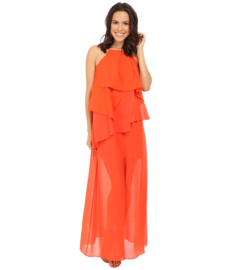 Adelyn Rae Ruffled Maxi Red/Orange Womens Dress