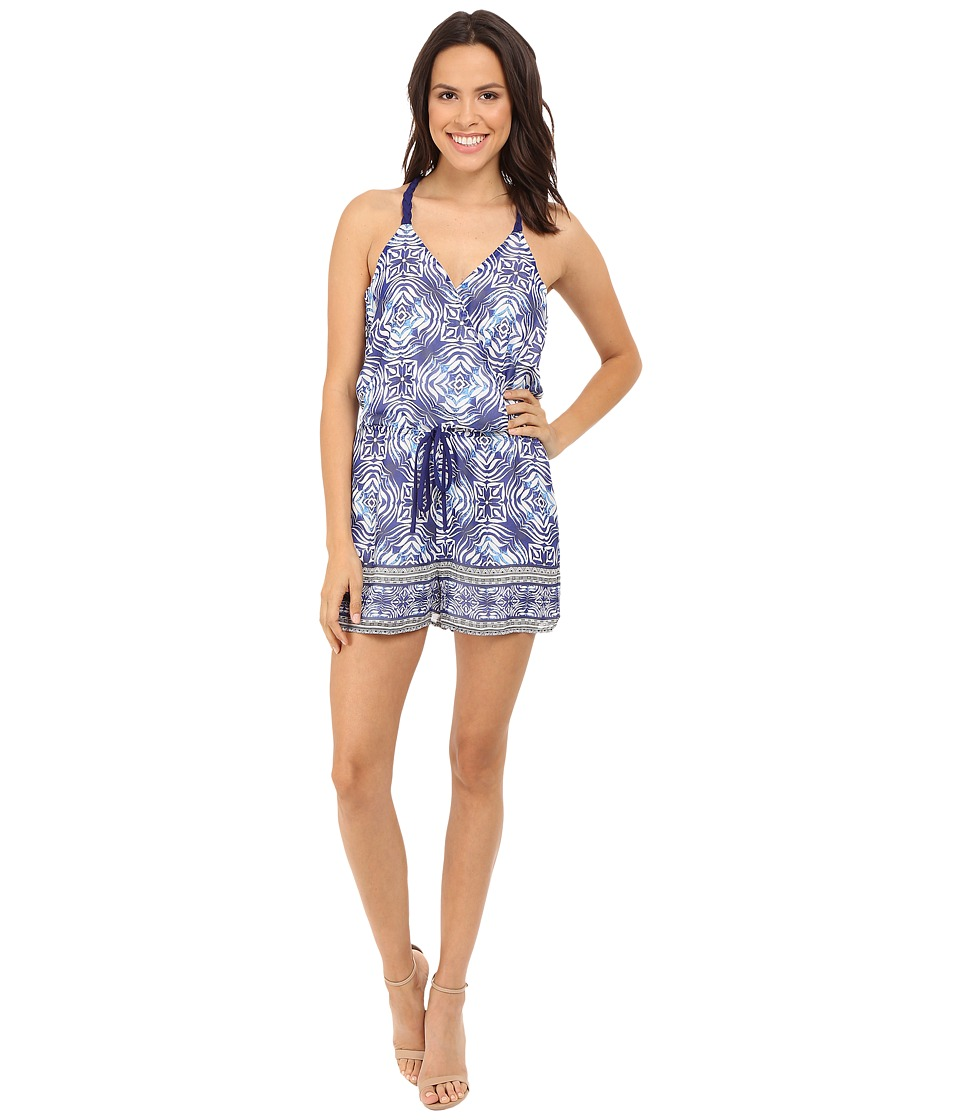 Adelyn Rae Trible Print Romper Blue/White Womens Jumpsuit Rompers One Piece