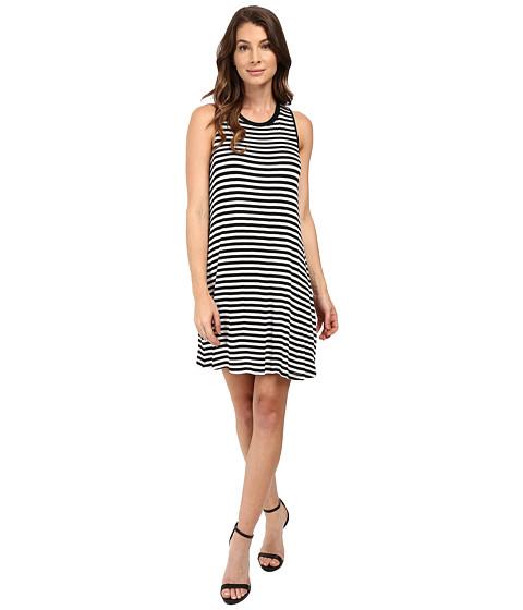 Splendid - Drapey Lux Stripe Dress (White/Black) Women's Dress