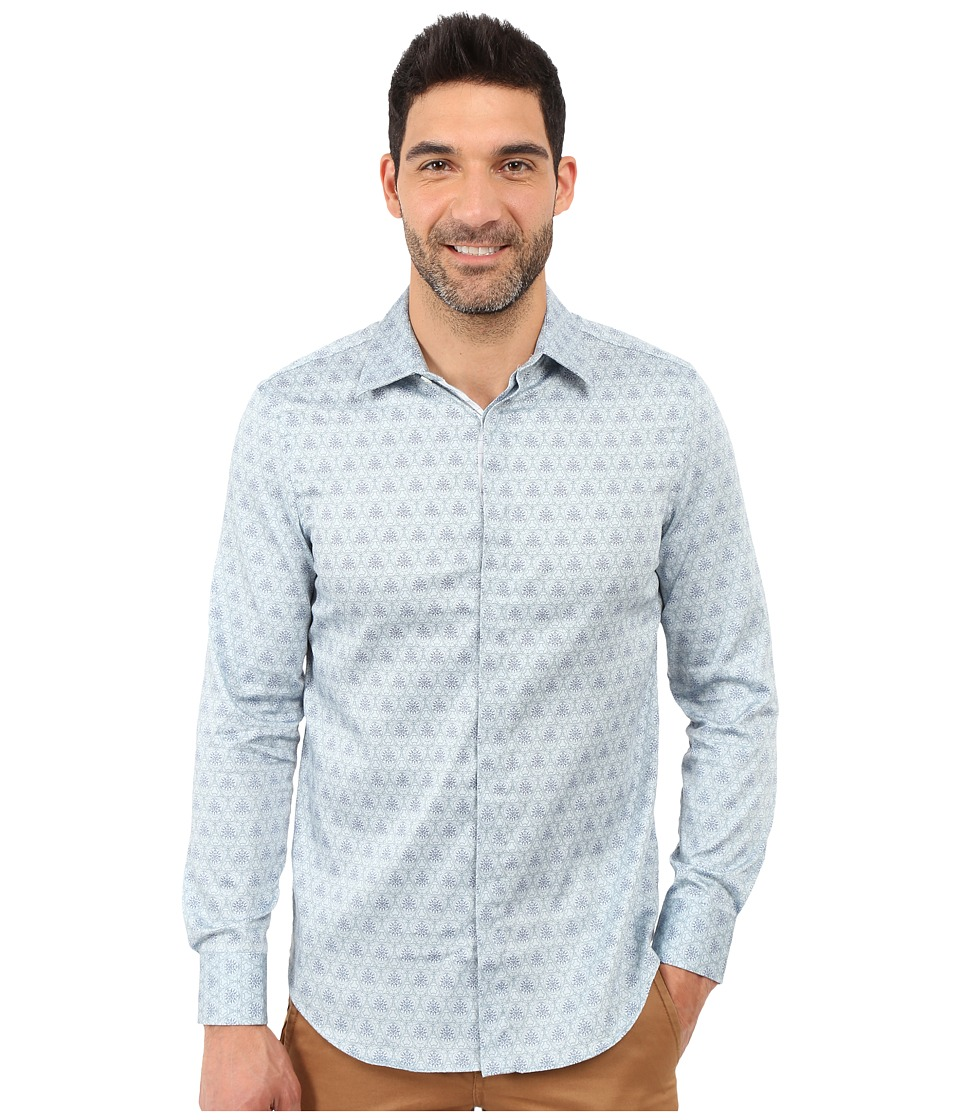 Perry Ellis Slim Fit Scribble Print Shirt Baby Blue Mens Clothing