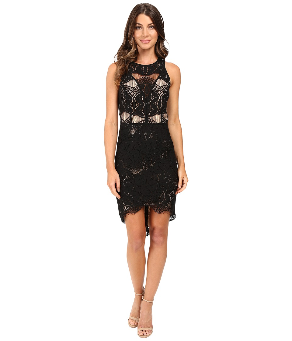 Adelyn Rae Lace Shirt Tail Dress Black/Nude Womens Dress