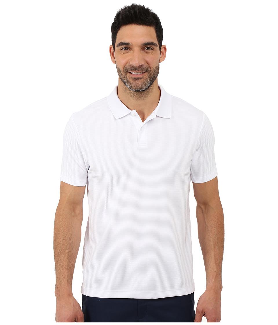 Perry Ellis Two Button Stripe Texture Polo Bright White Mens Short Sleeve Knit