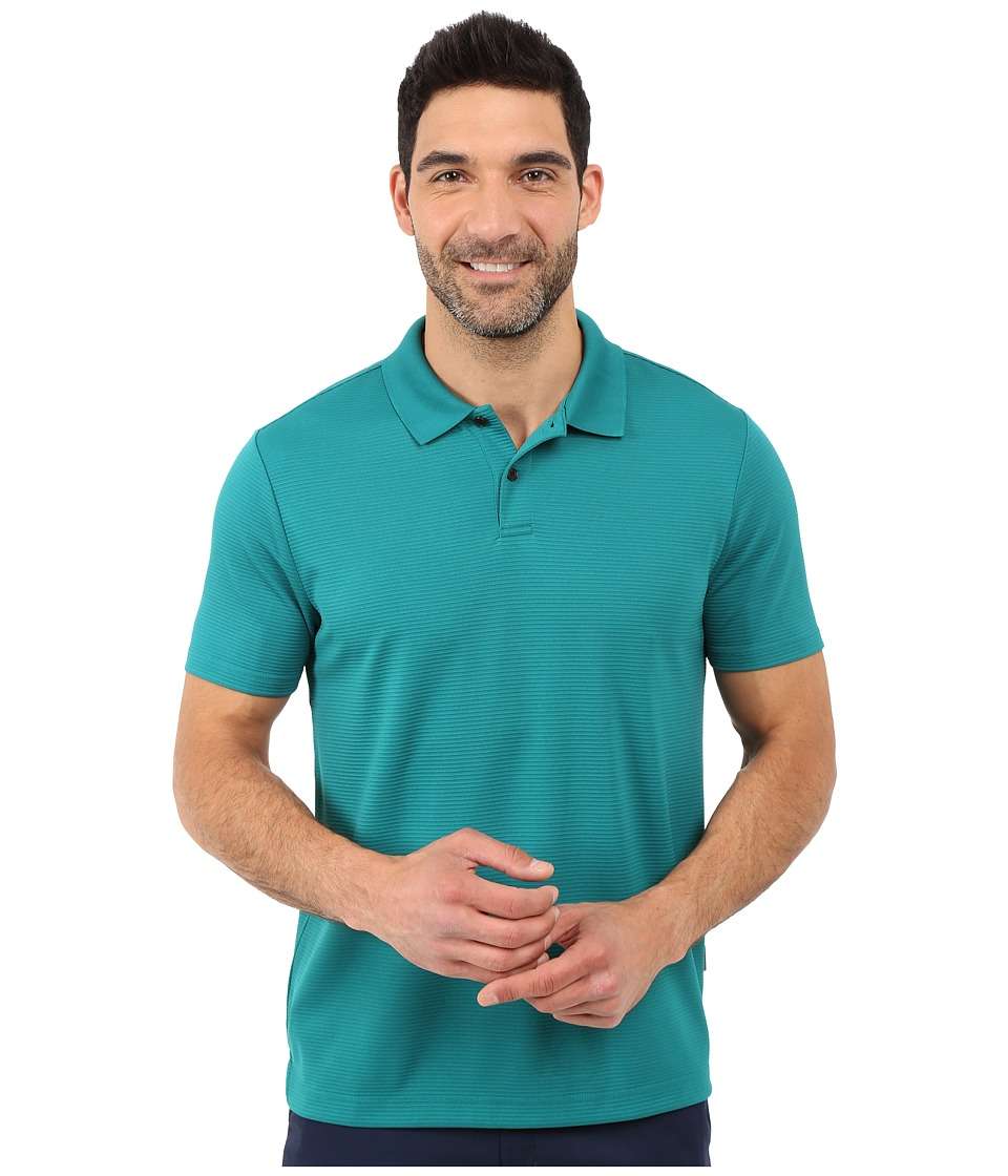 Perry Ellis Two Button Stripe Texture Polo Everglade Mens Short Sleeve Knit