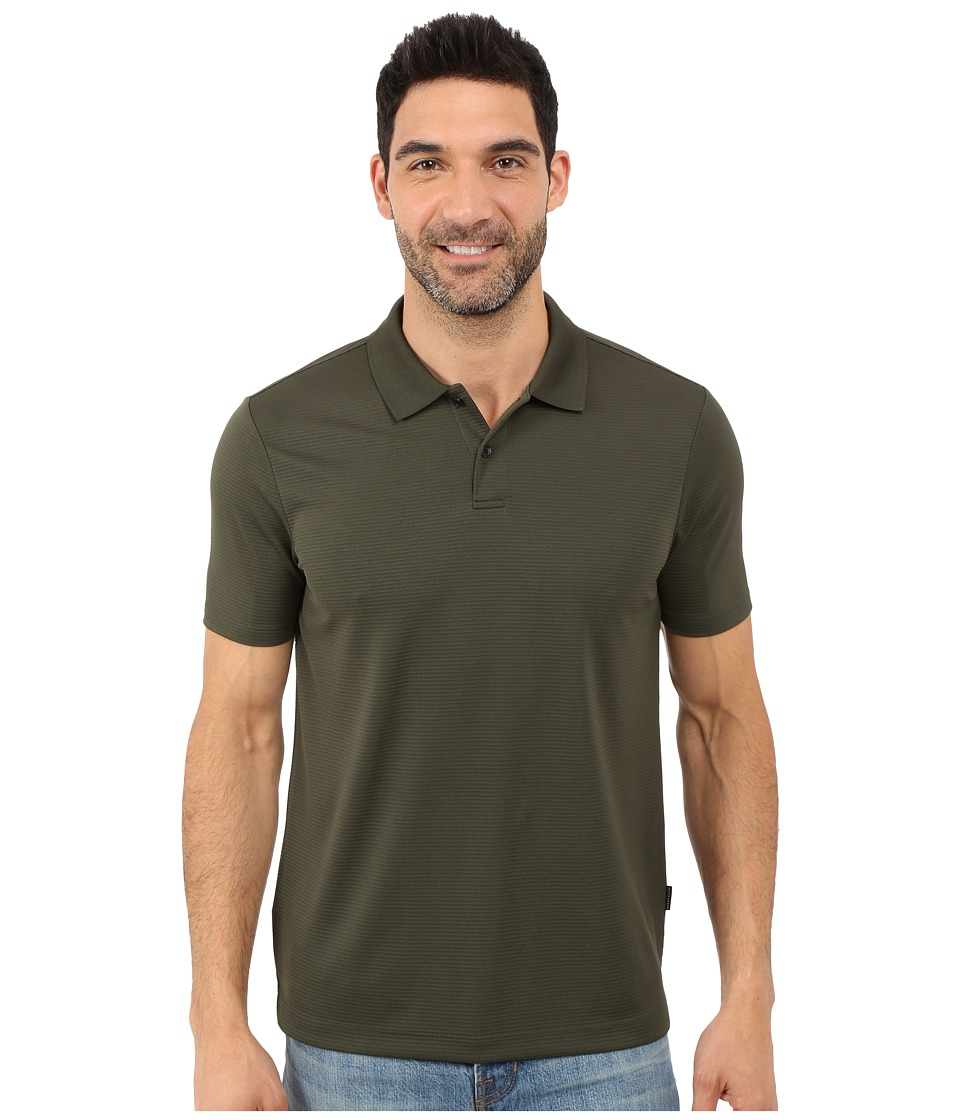 Perry Ellis Two Button Stripe Texture Polo Rosin Mens Short Sleeve Knit