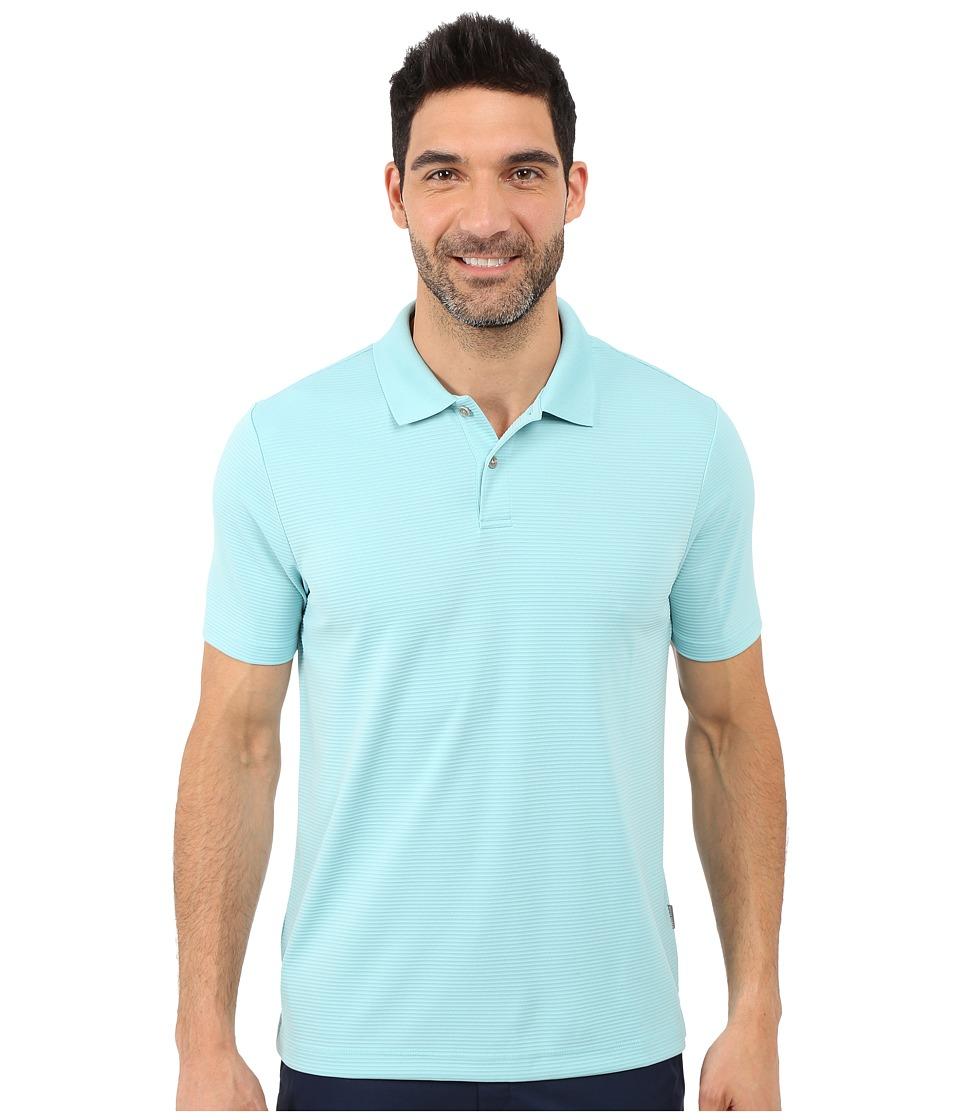 Perry Ellis Two Button Stripe Texture Polo Aqua Sea Mens Short Sleeve Knit