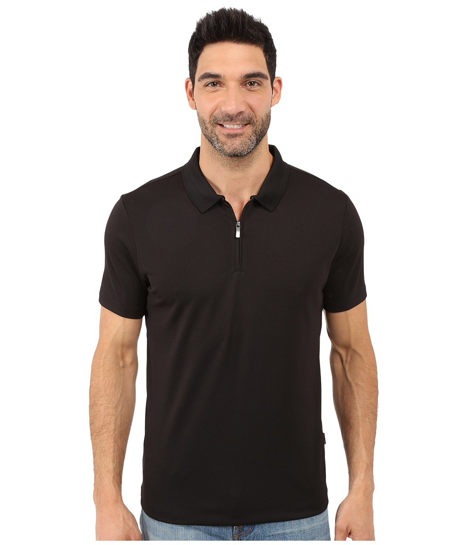 Perry Ellis Solid Polo with Zipper Closure Black Mens Short Sleeve Knit