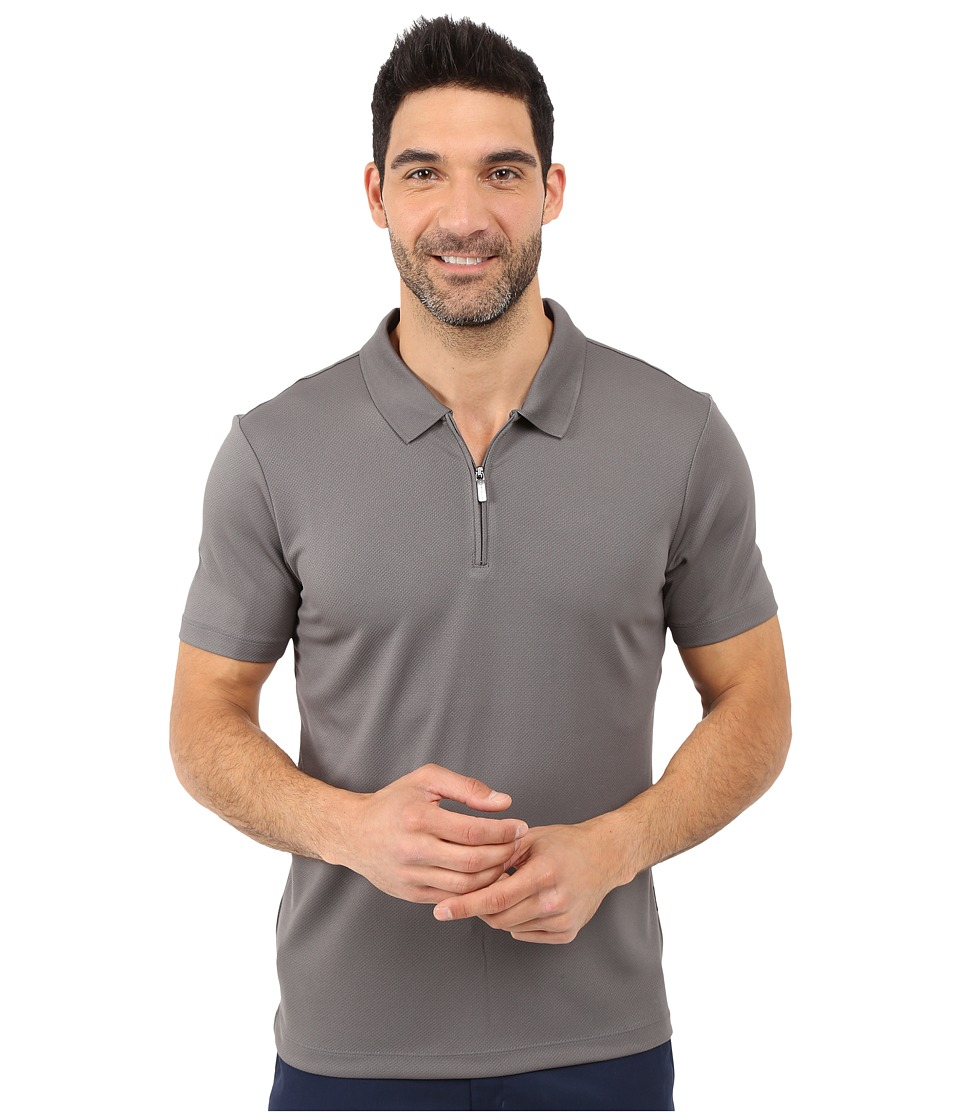 Perry Ellis Solid Polo with Zipper Closure Castlerock Mens Short Sleeve Knit